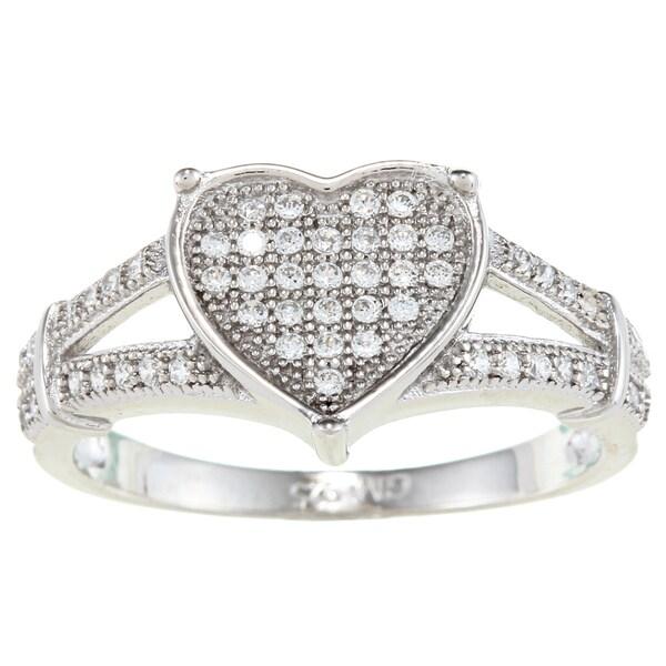 La Preciosa Sterling Silver Cubic Zirconia Heart Split Shank Ring