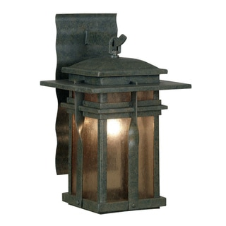 Harriott 17-inch Rust Finish 1-Light Medium Lantern with White Frosted Glass Shade