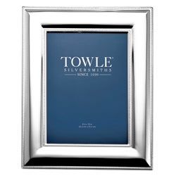 Towle Silver Plated 8 x 10 inch Beaded Frame with Grey Felt Back