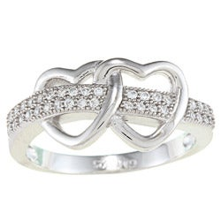 La Preciosa Sterling Silver Cubic Zirconia Double Open Heart Ring