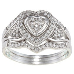 La Preciosa Sterling Silver Cubic Zirconia Wide Heart Ring Set