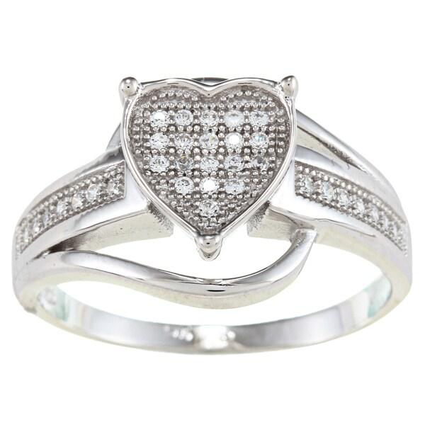 La Preciosa Sterling Silver Cubic Zirconia Heart Swirl Ring