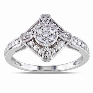 Miadora 10k White Gold 1/10ct TDW Diamond Fashion Ring (G-H, I1-I2) with Bonus Earrings