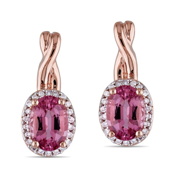 Miadora 10k Pink Gold Pink Tourmaline and 1/8ct TDW Diamond Earrings (G-H, I1-I2)