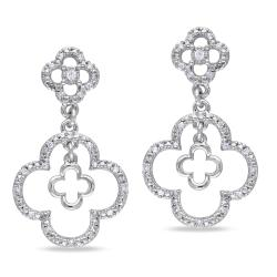 Miadora 10k White Gold 1/6ct TDW Diamond Flower Earrings (G-H, I1-I2)