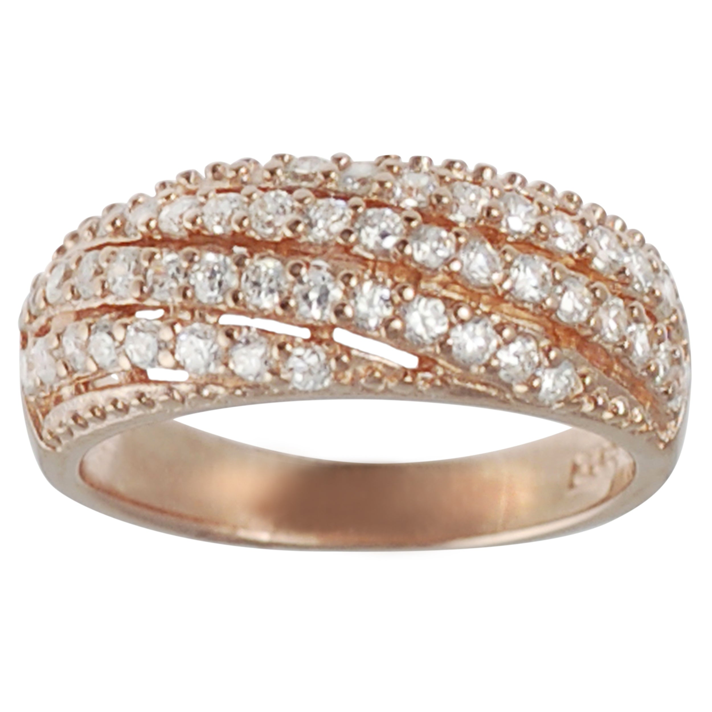 Journee Rose Gold-plated Silver White Cubic Zirconia Anniversary Ring