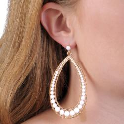 Journee Collection Goldtone Base Metal Acrylic Stone Teardrop Earrings