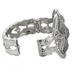 Journee Collection Silvertone Acrylic and Rhinestone Cuff Bracelet