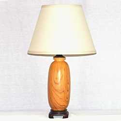 Light Oak Wood Grain Painted Ceramic Table Lamp