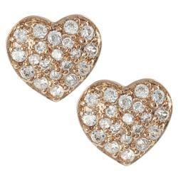 Tressa Sterling Silver White Cubic Zirconia Heart Stud Earrings