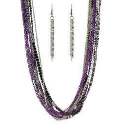 Journee Collection Silvertone and Purple Metal Necklace Earring Set