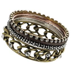 Journee Collection Bronzetone Rhinestone Bangle Bracelet