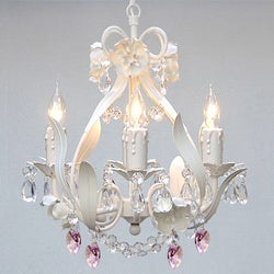 Wrought Iron and Crystal Mini 4-light Chandelier