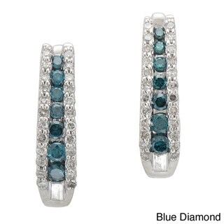 Sterling Silver 1/2ct TDW Black/ Blue and White Diamond Hoop Earring (I-J, I2-I3)