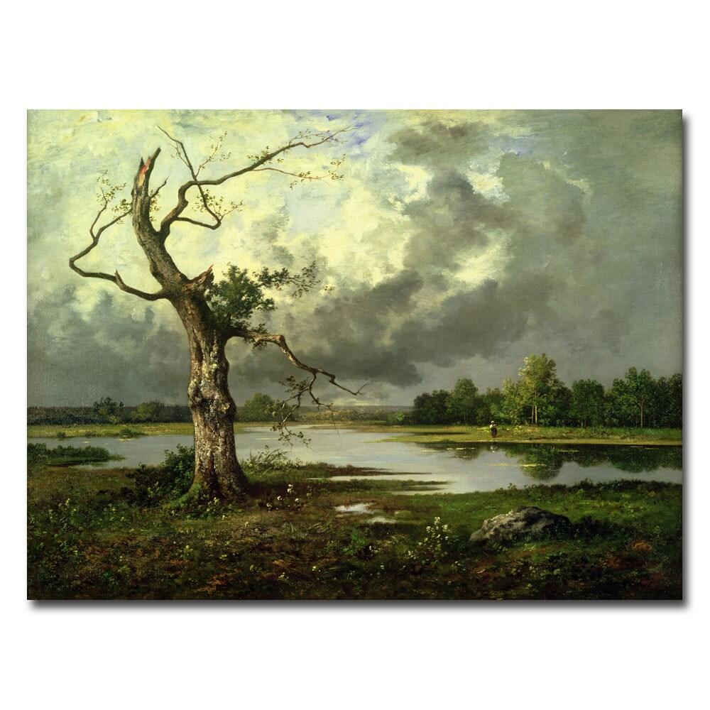 Leon Richet 'French River Landscape' Unframed Canvas Art