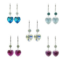 Icz Stonez Sterling Silver Crystal Heart and Fireball Leverback Earrings
