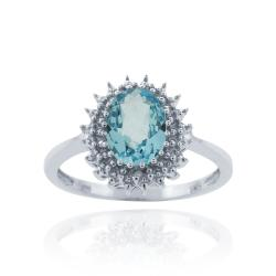 Glitzy Rocks Silver 1 1/2ct TGW Blue Topaz and Diamond Accent Oval Cocktail Ring