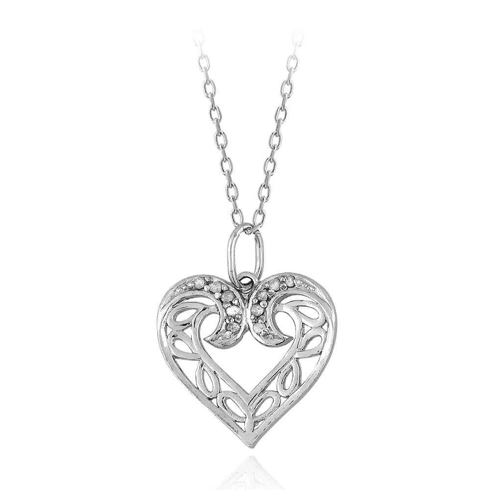 DB Designs Sterling Silver 1/10ct TDW Diamond Filigree Open Heart Necklace