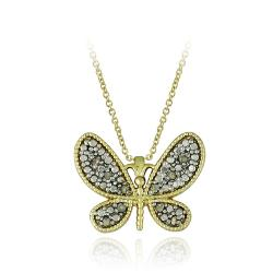 DB Designs 18k Yellow Gold Over Sterling Silver 1/10ct TDW Diamond Butterfly Necklace
