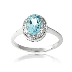 Glitzy Rocks Silver 1 1/2ct TGW Blue Topaz and Diamond Accent Ring