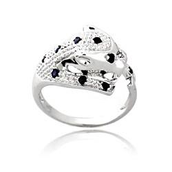 Glitzy Rocks Silver 3/8ct TGW Sapphire and Diamond Accent Cheetah Ring