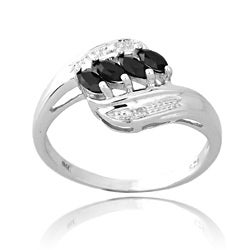 Glitzy Rocks Sterling Silver 1/2ct TGW Sapphire and Diamond Accent Ring