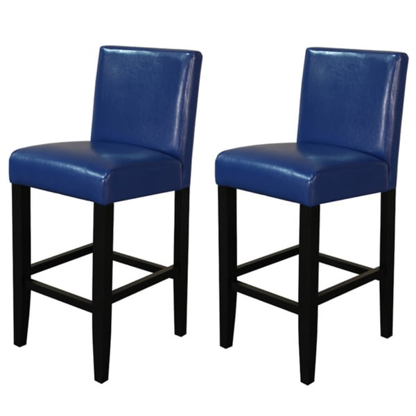 Villa Faux Leather Blue Counter Stools Set Of 2