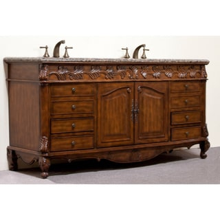 Granite Top 72-inch Double Sink Bathroom Vanity
