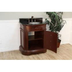 Bellaterra 32 in. Single Sink Wood Vanity with Black Granite