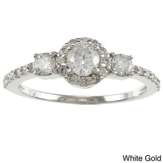  14k Gold 3/4ct TDW Round Diamond Halo Engagement Ring (G-H, I1-I2)