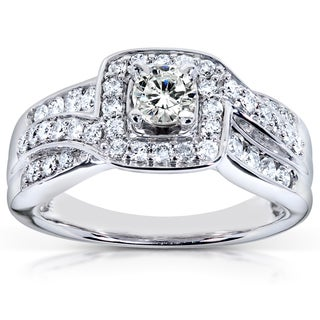 Annello 14k White Gold 7/8ct TDW Diamond Halo Engagement Ring (H-I, I1-I2)
