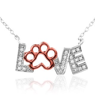 ASPCA Tender Voices Silver 1/10ct Diamond Love Paw Necklace (I-J, I2-I3)