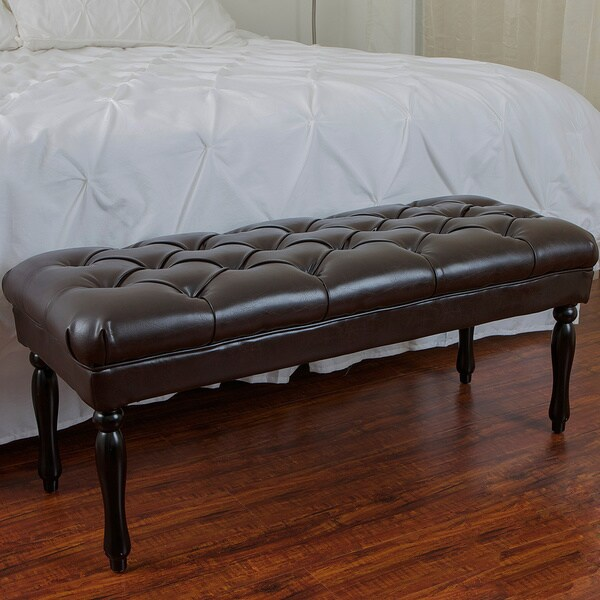 Christopher Knight Home Mumford Brown Tufted Leather Bench Ottoman