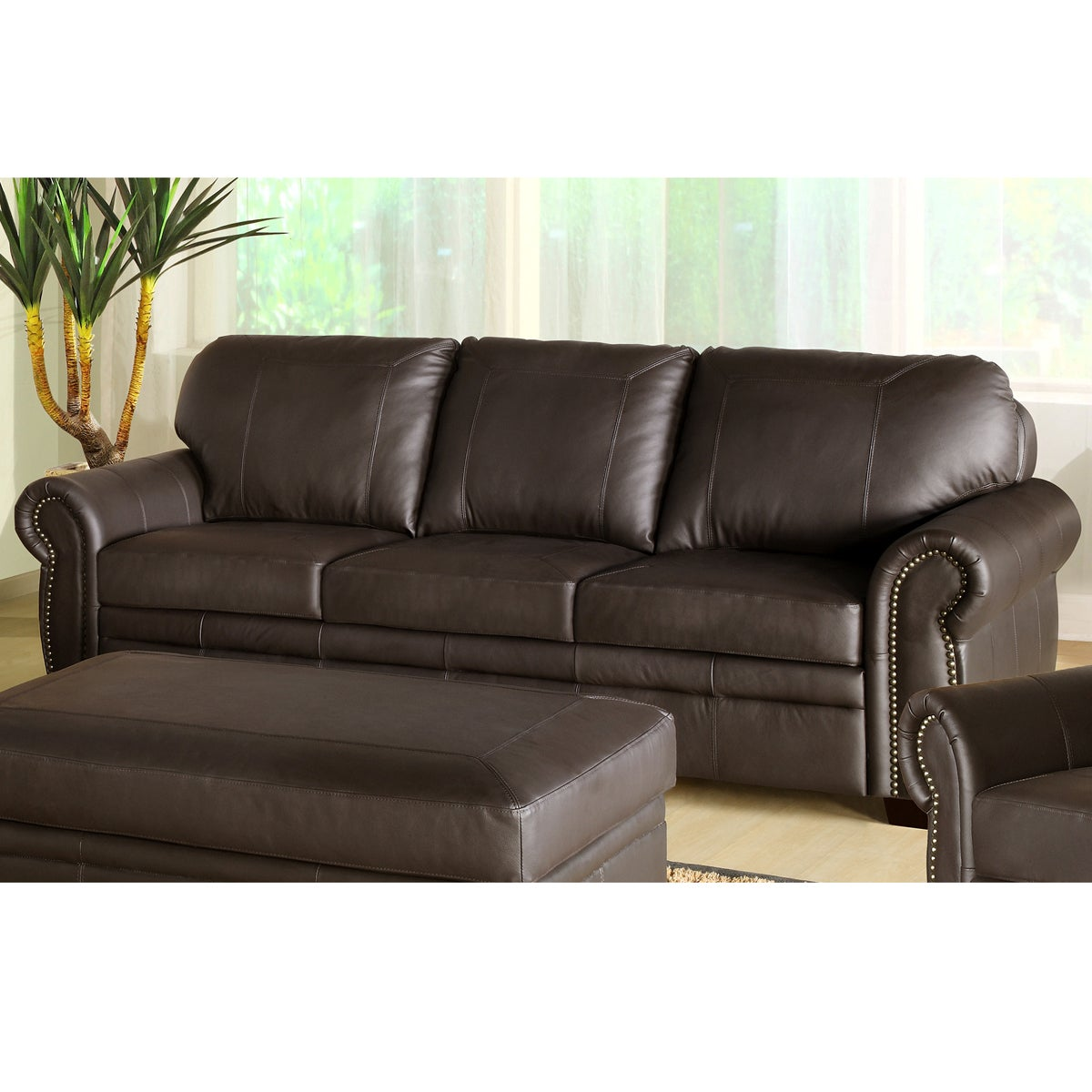 abbyson living signature italian leather sofa 14475362 overstock