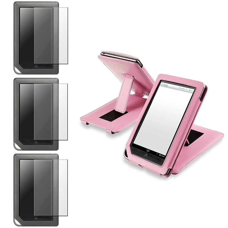 INSTEN Pink Leather Phone Case Cover/ Screen Protector for Barnes & Noble Nook Color