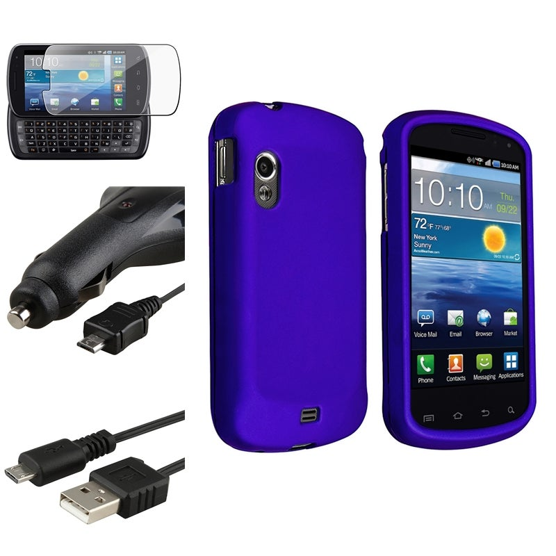 Blue Case/ Car Charger/ Cable/ Protector for Samsung Stratosphere i405