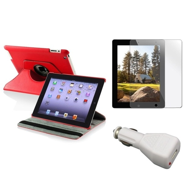 INSTEN Red Tablet Case Cover/ Protector/ Car Charger for Apple iPad 2/ 3/ New iPad/ 4