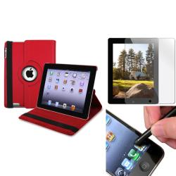 Red Leather Swivel Case/ Protector/ Stylus for Apple iPad 2/ 3/ New