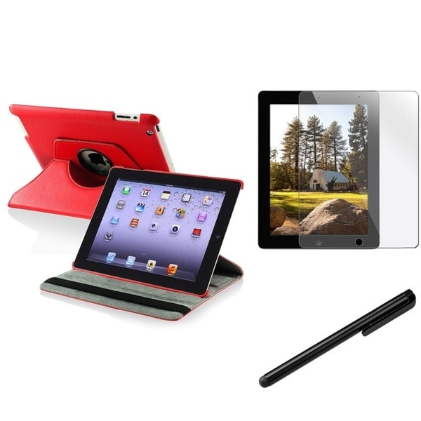 INSTEN Red Leather Swivel Tablet Case Cover/ Protector/ Stylus for Apple iPad 2/ 3/ New iPad/ 4