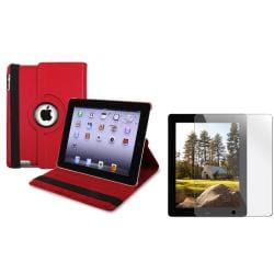 BasAcc Red Leather Swivel Case/ Screen Protector for Apple iPad 2/ 3/ New iPad/ 4