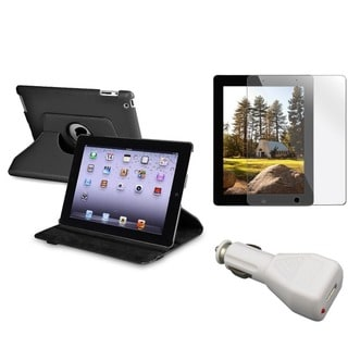 INSTEN Black Swivel Tablet Case Cover/ Protector/ Car Charger for Apple iPad 2/ 3/ New iPad/ 4