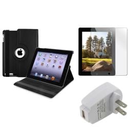 BasAcc Black Swivel Case/ Protector/ Travel Charger for Apple iPad 2/ 3/ New iPad/ 4