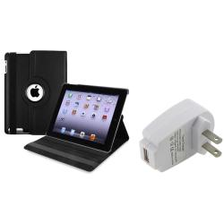 BasAcc Black Leather Swivel Case/ Travel Charger for Apple iPad 2/ 3/ New iPad/ 4