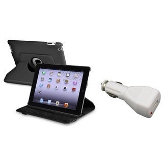 BasAcc Black Leather Swivel Case/ Car Charger for Apple iPad 2/ 3/ New iPad/ 4