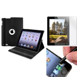 BasAcc Black Swivel Case/ Stylus/ Screen Protector for Apple iPad 2/ 3/ New iPad/ 4