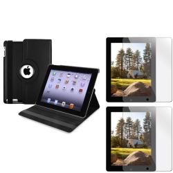 BasAcc Black Swivel Case/ Screen Protectors for Apple iPad 2/ 3/ New iPad/ 4