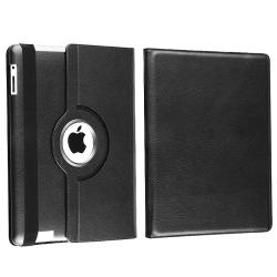 Black Swivel Case/ Screen Protectors for Apple iPad 2/ 3/ New