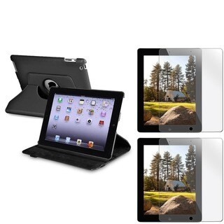 INSTEN Black Swivel Tablet Case Cover/ Screen Protectors for Apple iPad 2/ 3/ New iPad/ 4