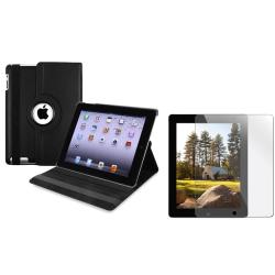 Black Swivel Case/ Screen Protector for Apple iPad 2/ 3/ New