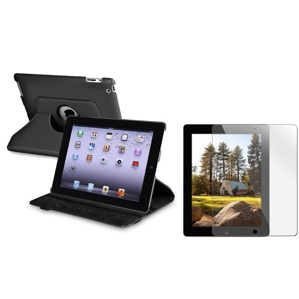 INSTEN Black Swivel Tablet Case Cover/ Screen Protector for Apple iPad 2/ 3/ New iPad/ 4